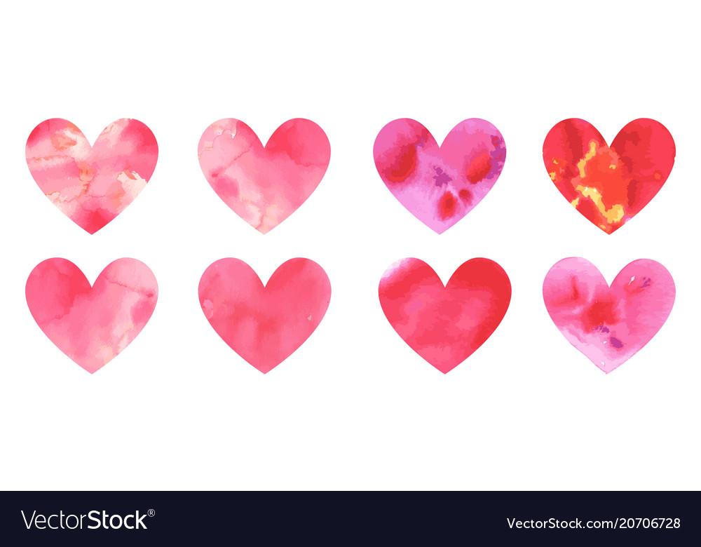 Set of watercolor hearts hand-drawn