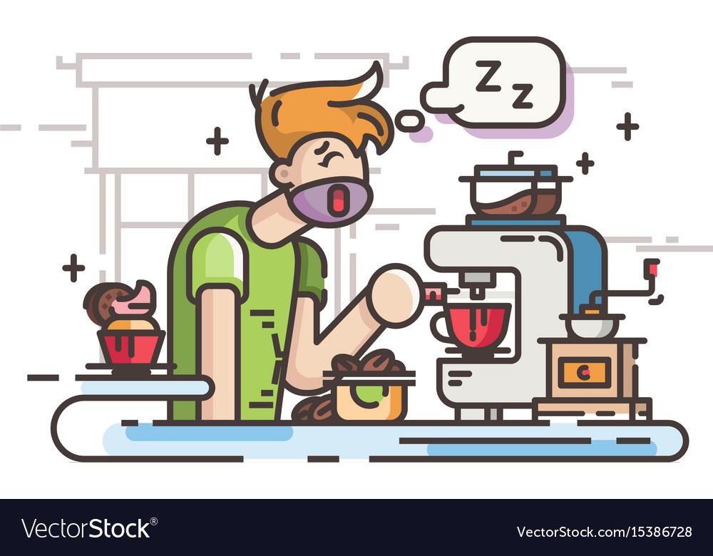Sleepy guy making coffee