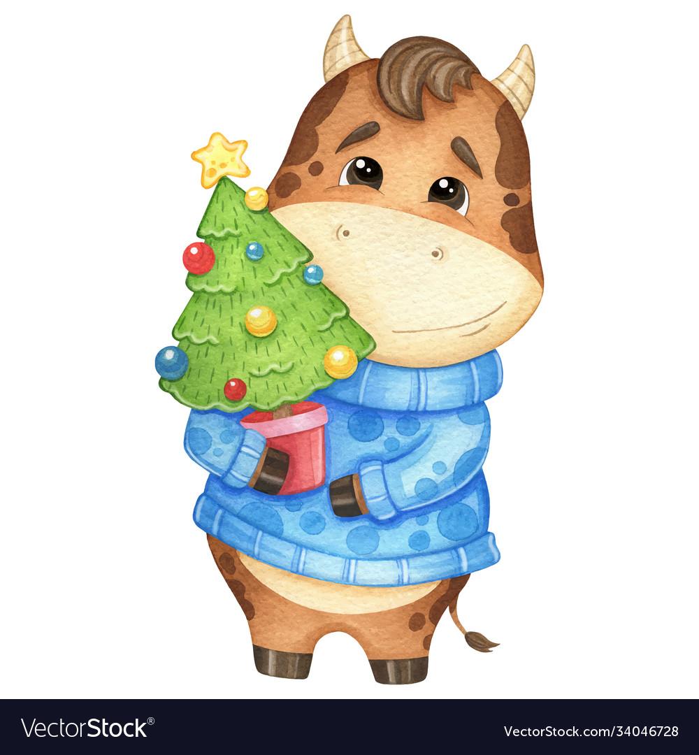 Symbol new year 2021 cute bull in a