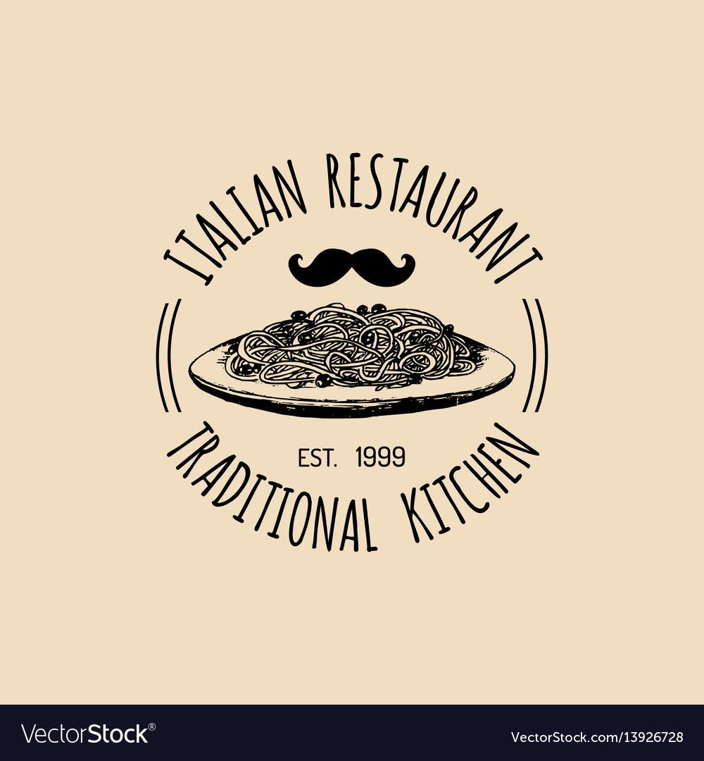 Vintage hipster italian food logo modern