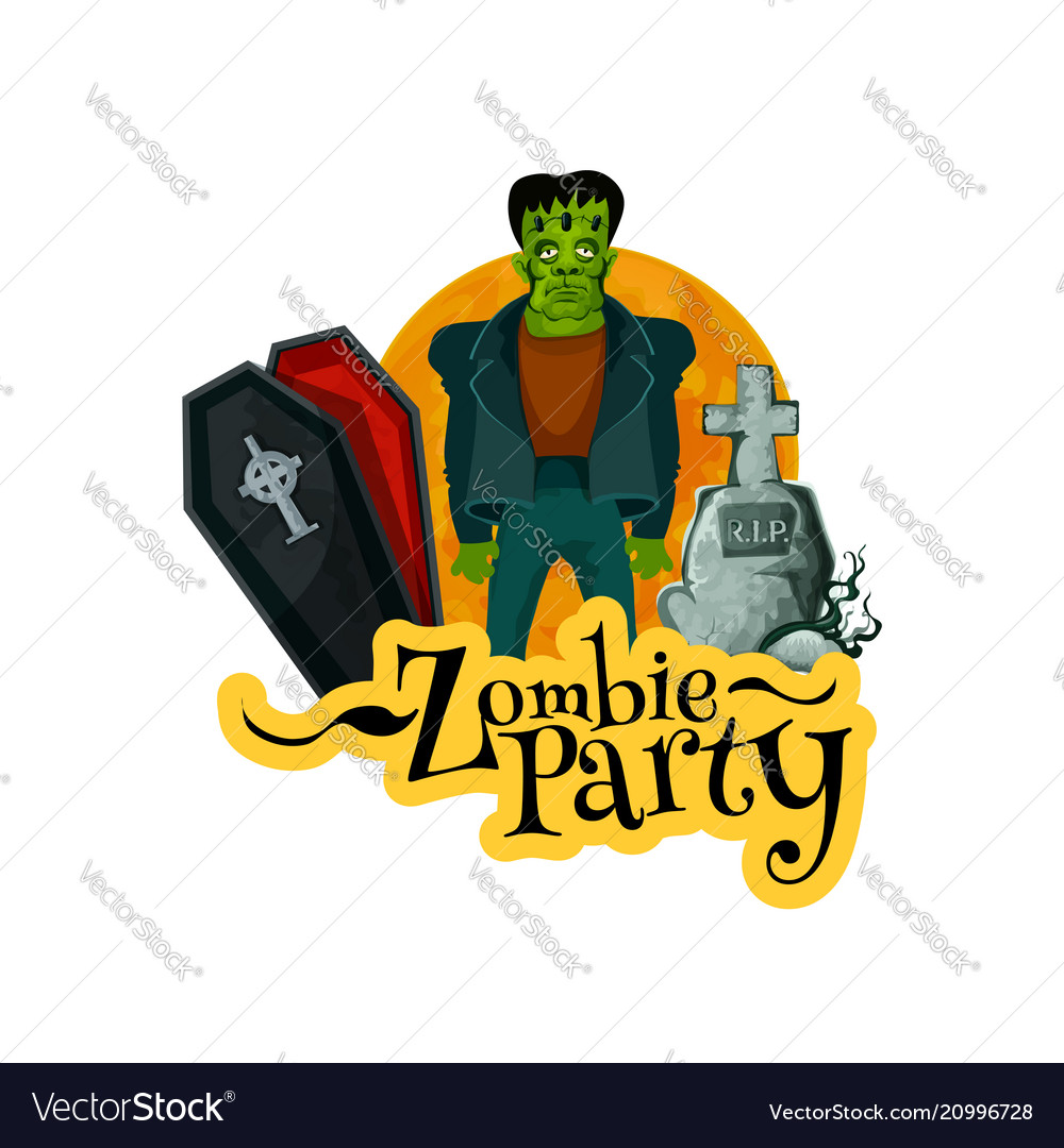 Zombie party invitation card for halloween holiday vector image