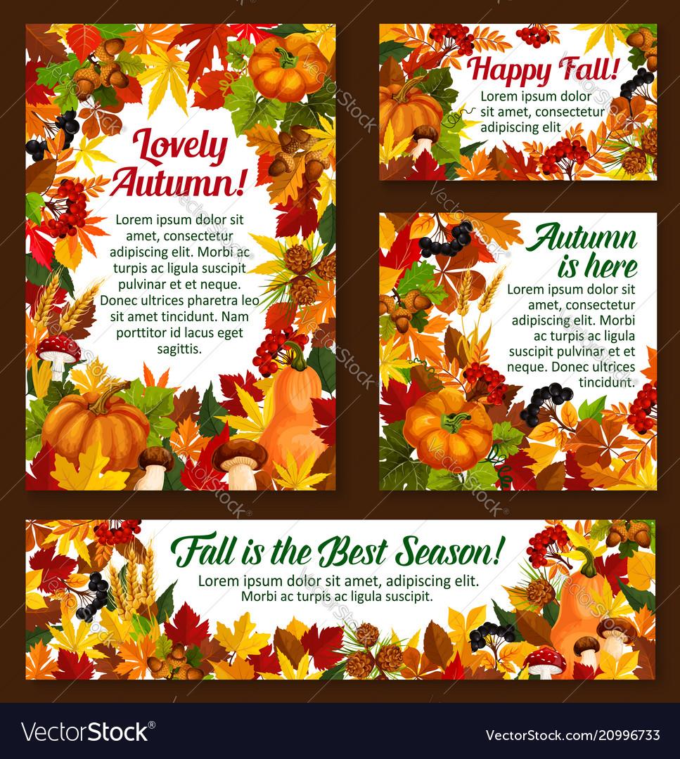 Autumn acorn leaf pumpkin greeting posters