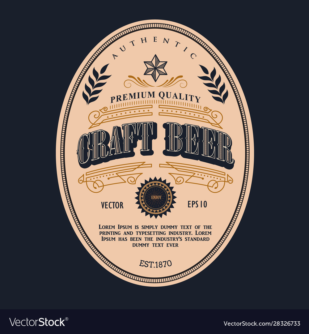 Beer label design antique frame vintage border