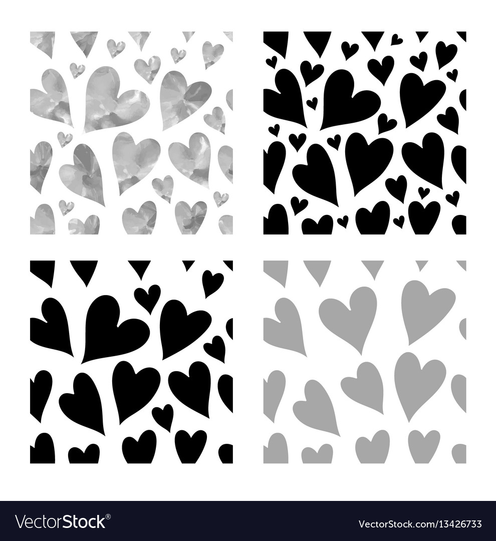Black hearts seamless patte vector image