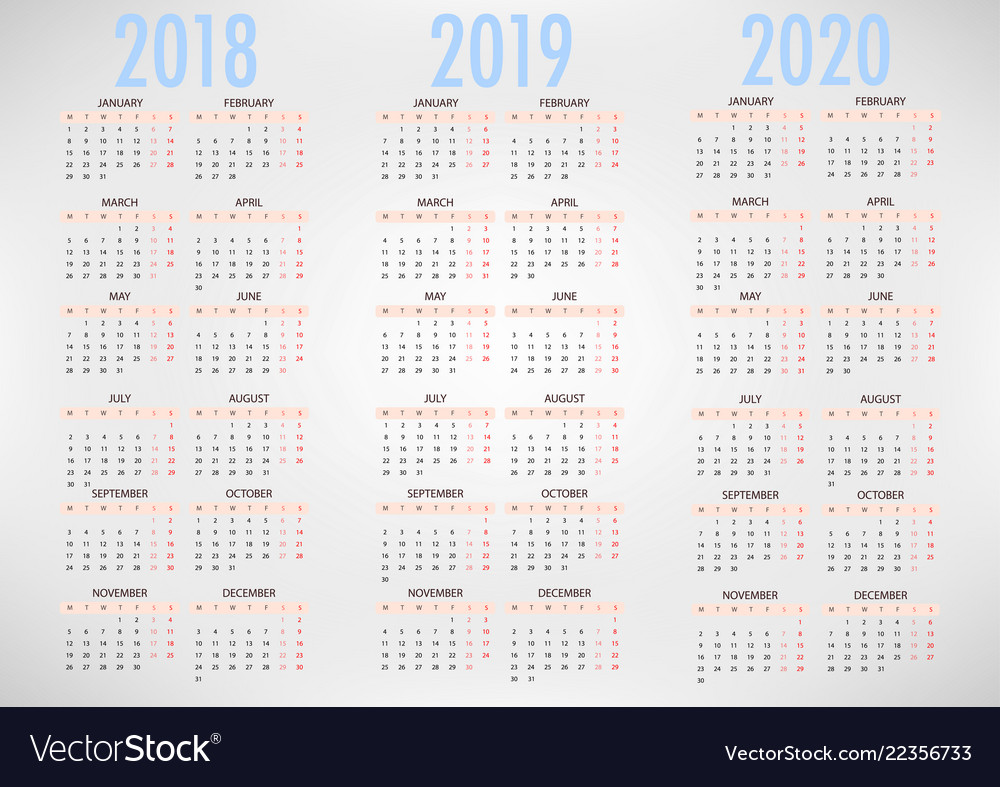 Calendar for 2018 2019 2020 simple template
