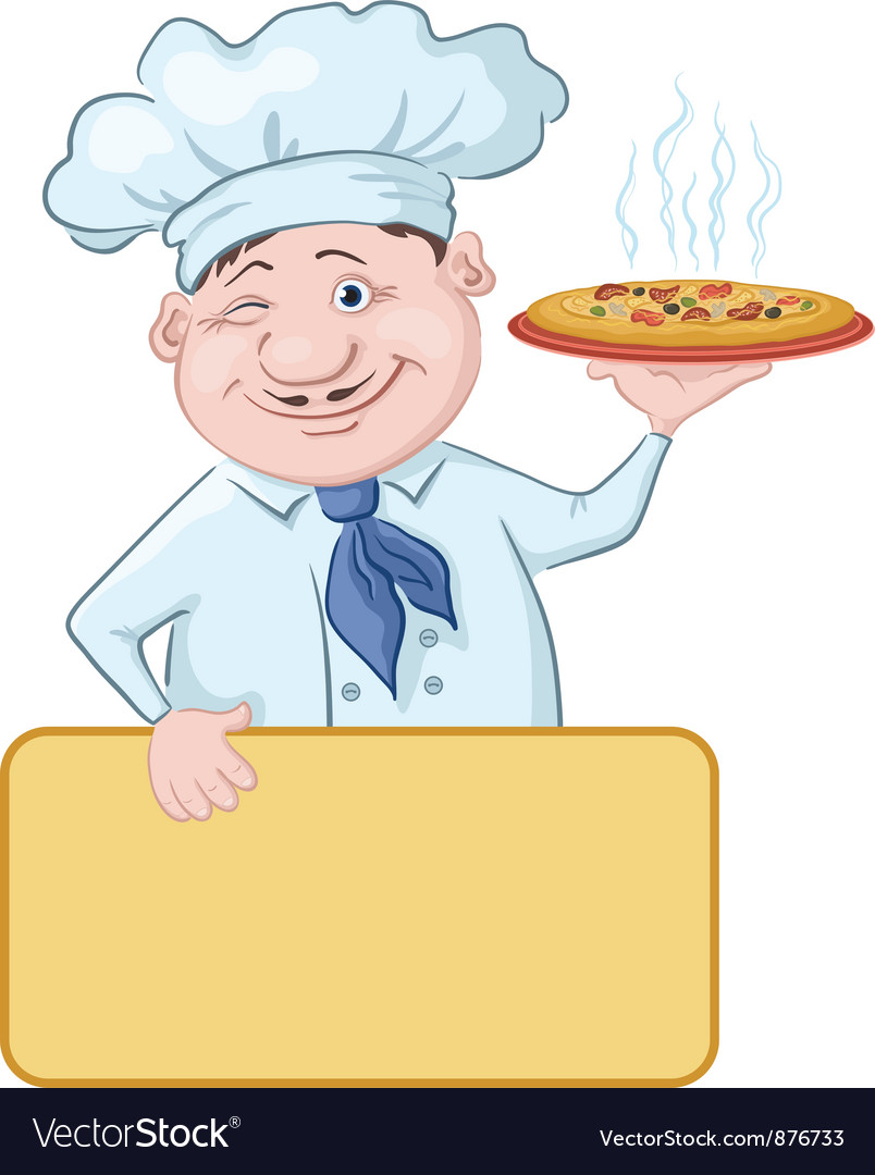 Cook with pizza and poster