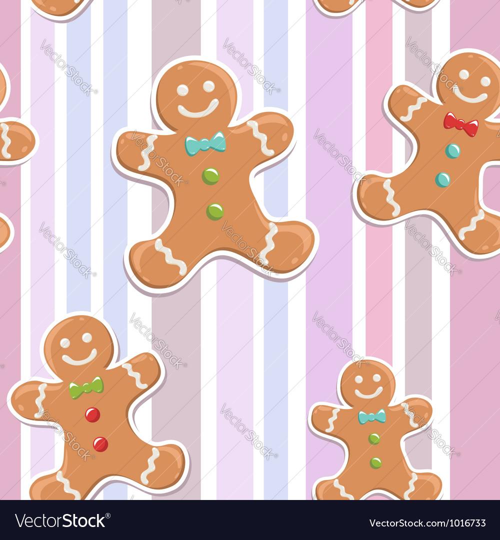 Cute gingerbread man seamless Christmas colorful p