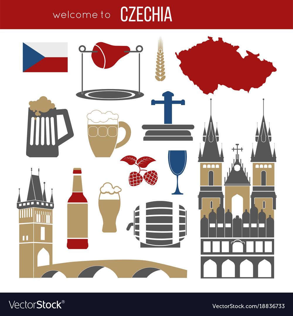 Czech republic culture symbol set
