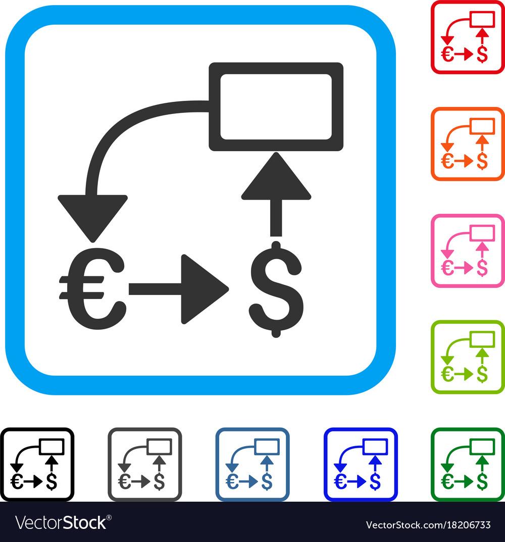 Euro dollar flow chart framed icon