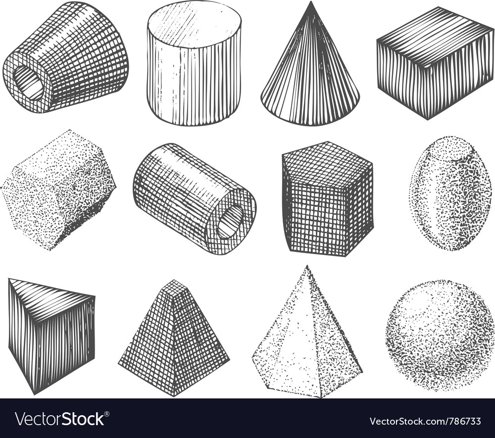 Geometric shapes by hand vector image