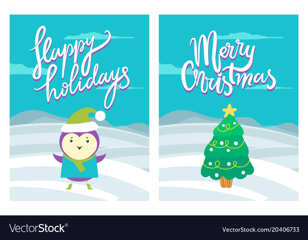 Happy holidays merry christmas greeting postcards Vector Image