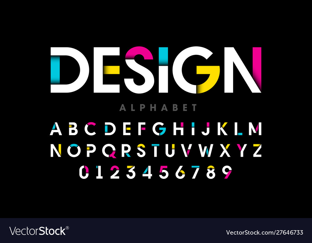 Modern bright colorful font alphabet letters and