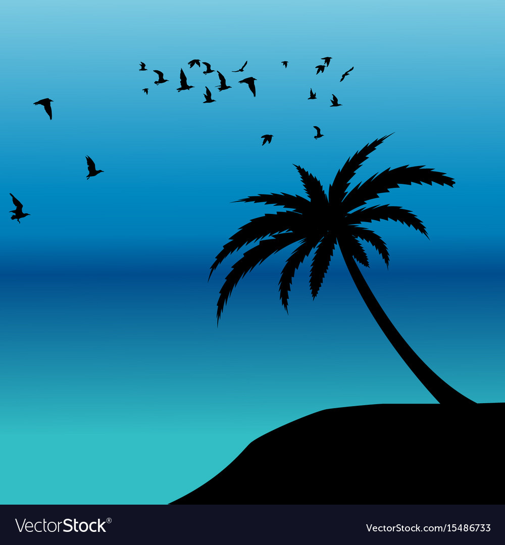 Palm silhouette and birds flying on the shore
