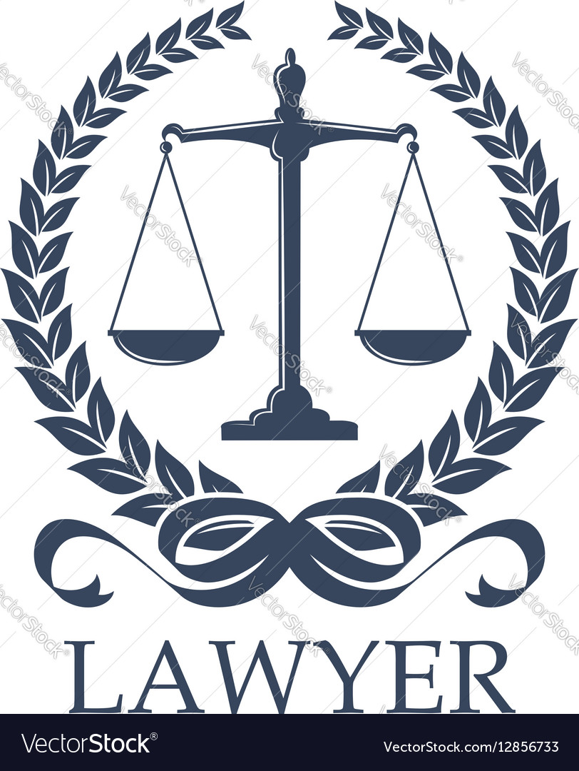 Scale of justice inside laurel wreath vector image