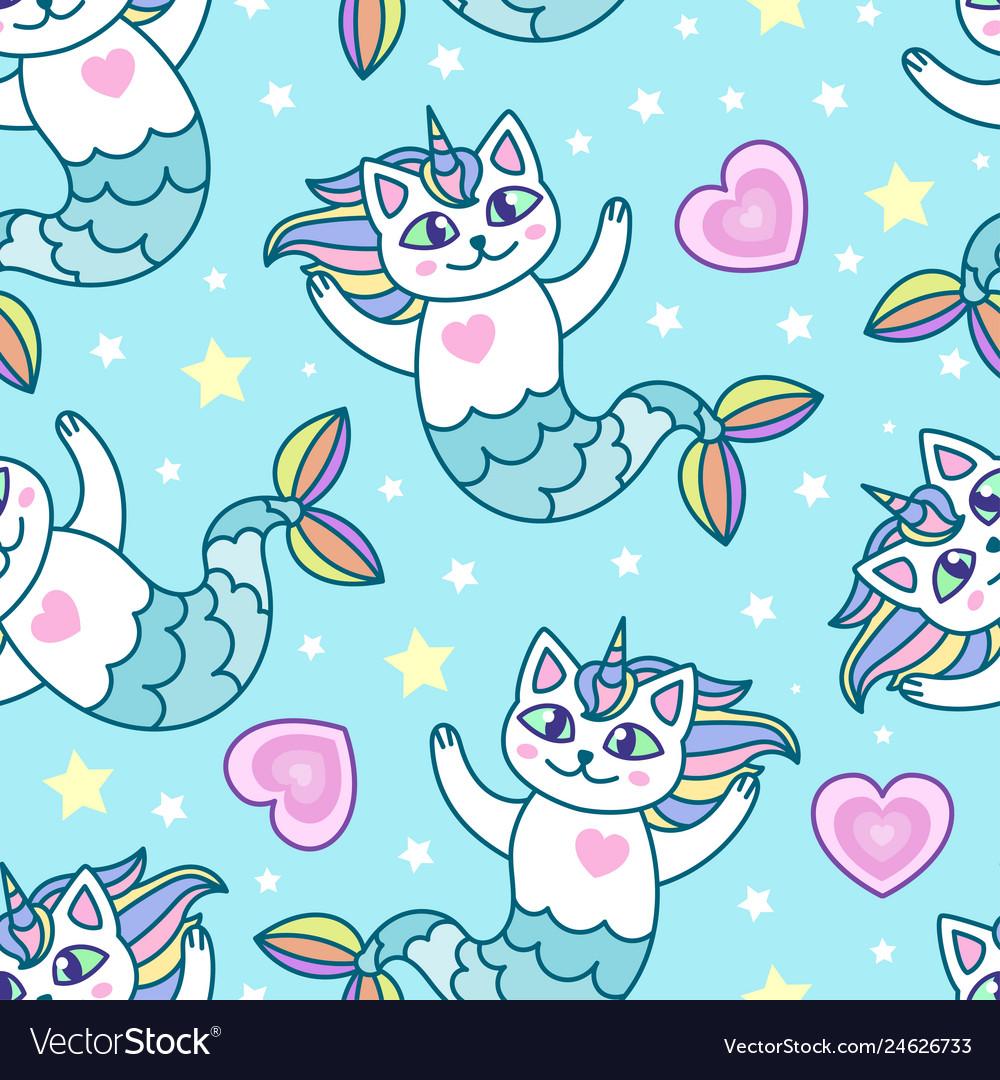 Seamless pattern mermaid cartoon cats