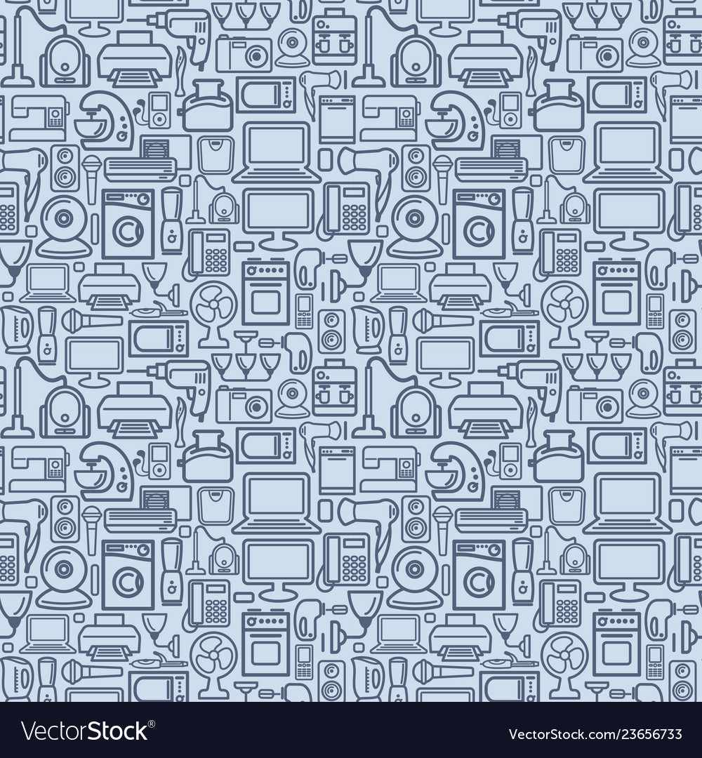 Seamless pattern of outline home appliances icons