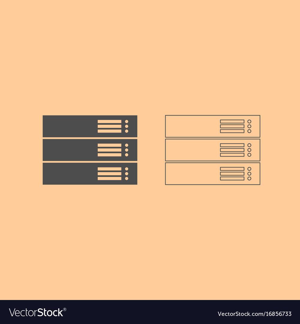 Server dark grey set icon