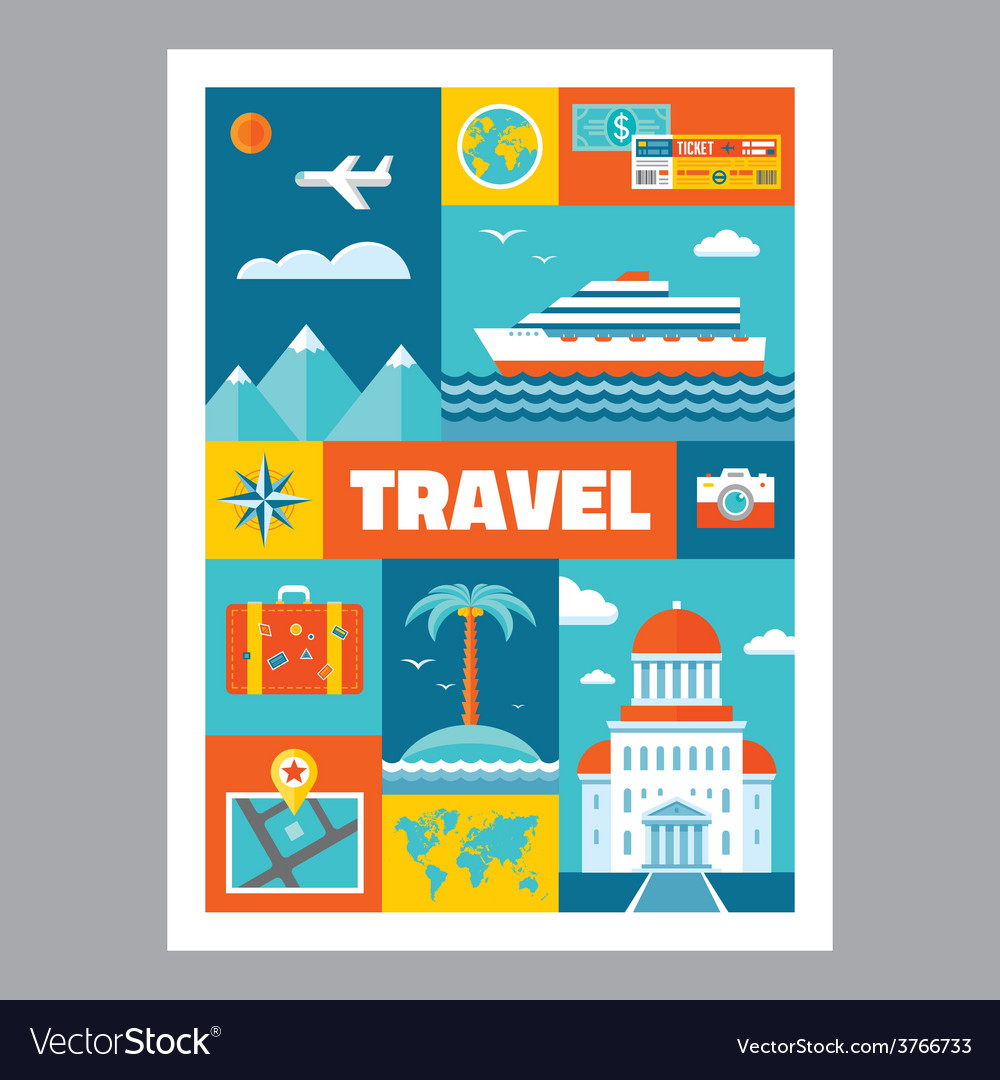 Travel - mosaic poster with icons in flat design