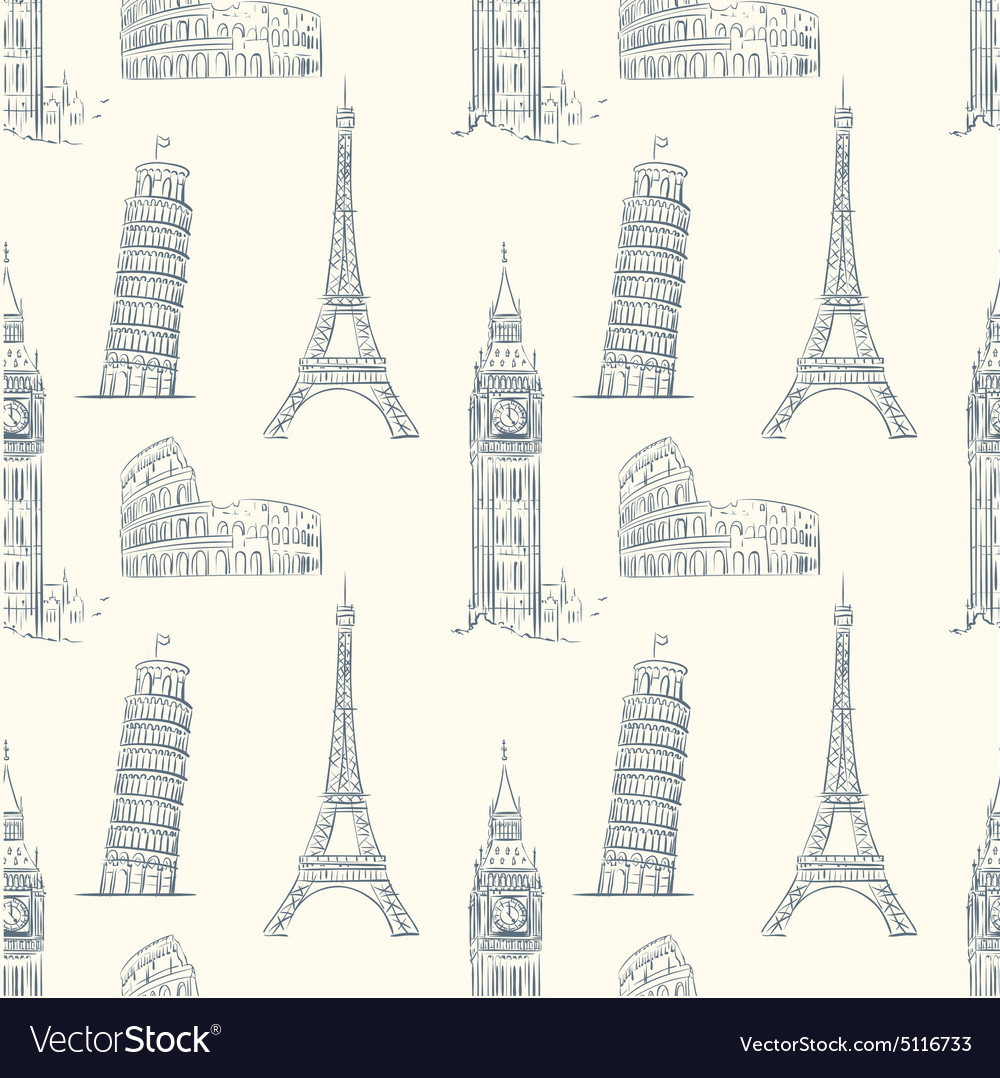 Vintage seamless pattern with sights europe