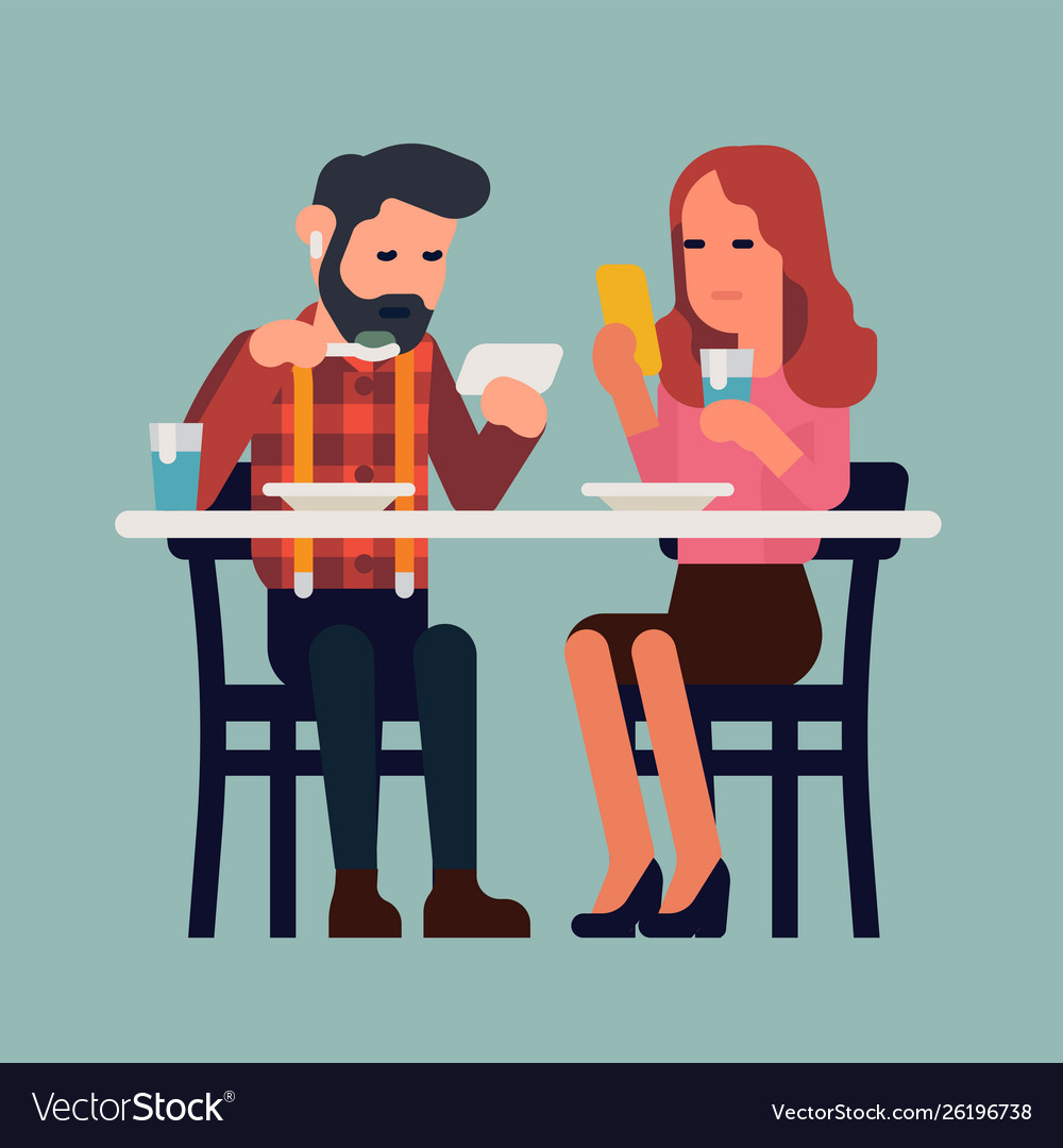Couple with phones having a meal