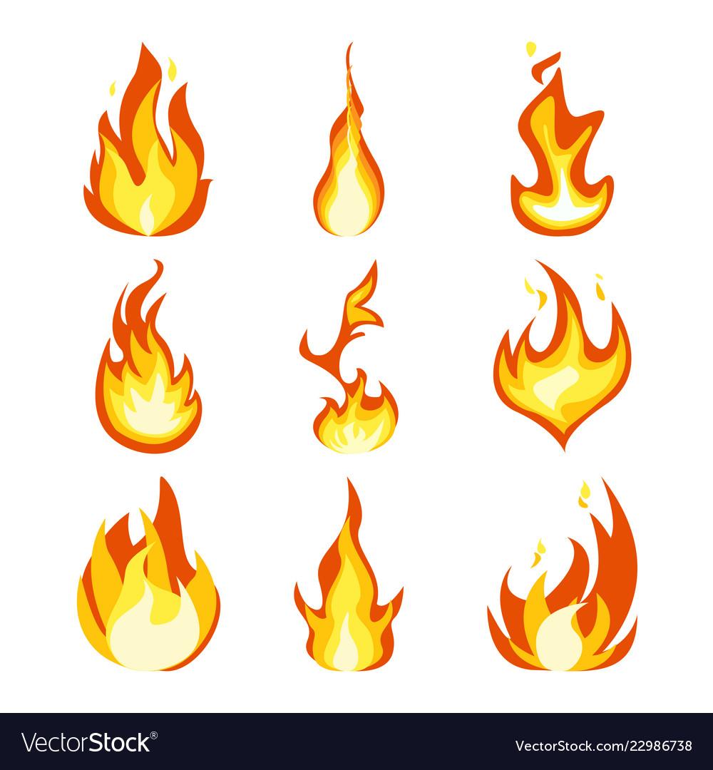 Fire light effect flames set design icon