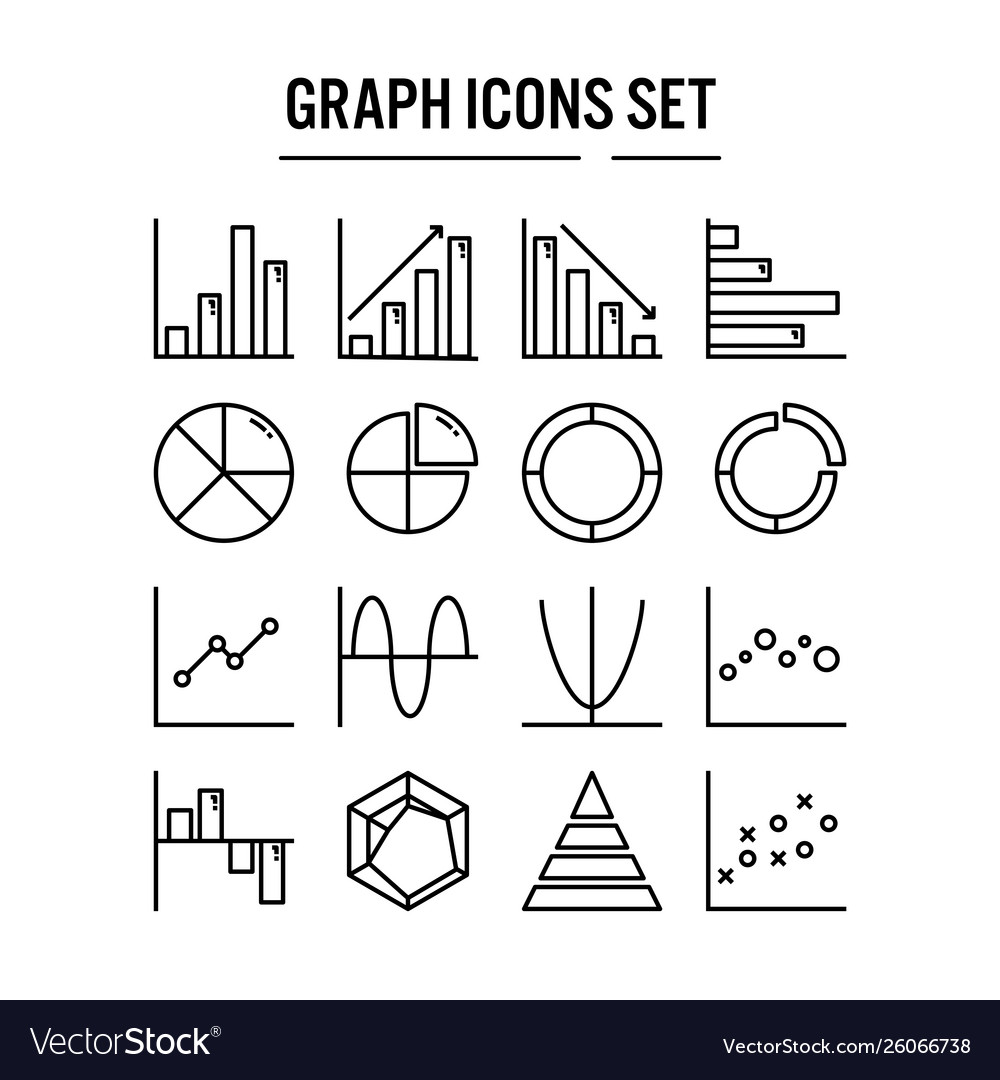 Graph and diagram icon in outline design for web