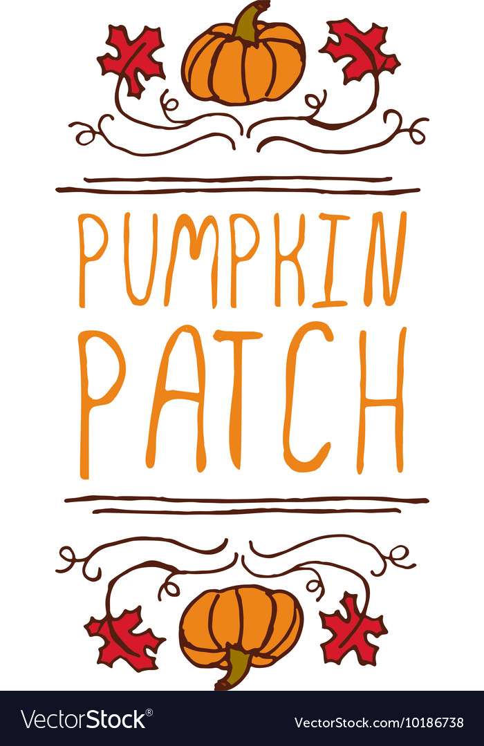 Handdrawn autumn element with text