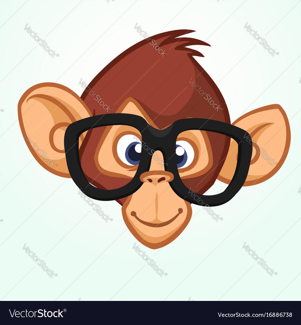 happy cartoon monkey head wearing glasses vector image rh vectorstock com cartoon monkey hanging from a tree cartoon monkey head image