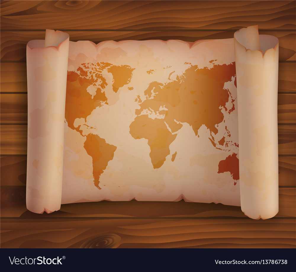 Horizontal scroll paper parchment with world map