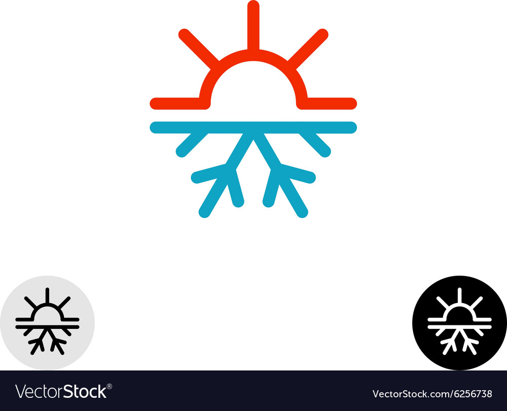 Hot and cold symbol Sun and snowflake all season