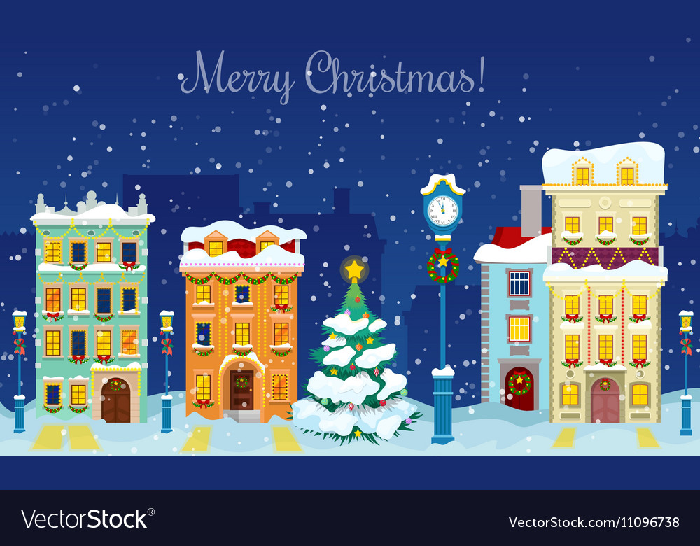 Merry Christmas Cityscape with Snowfall Houses