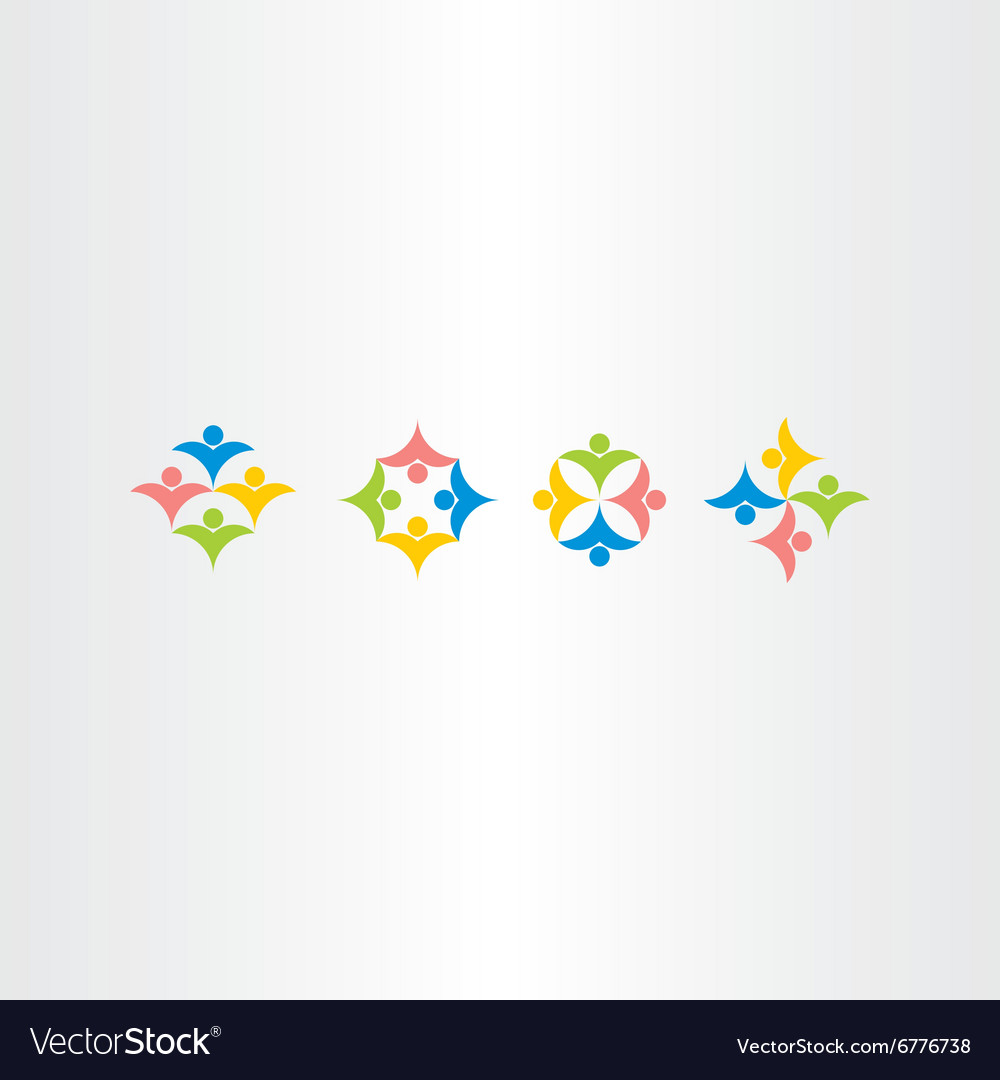 People teamwork icons set colorful logo elements vector image
