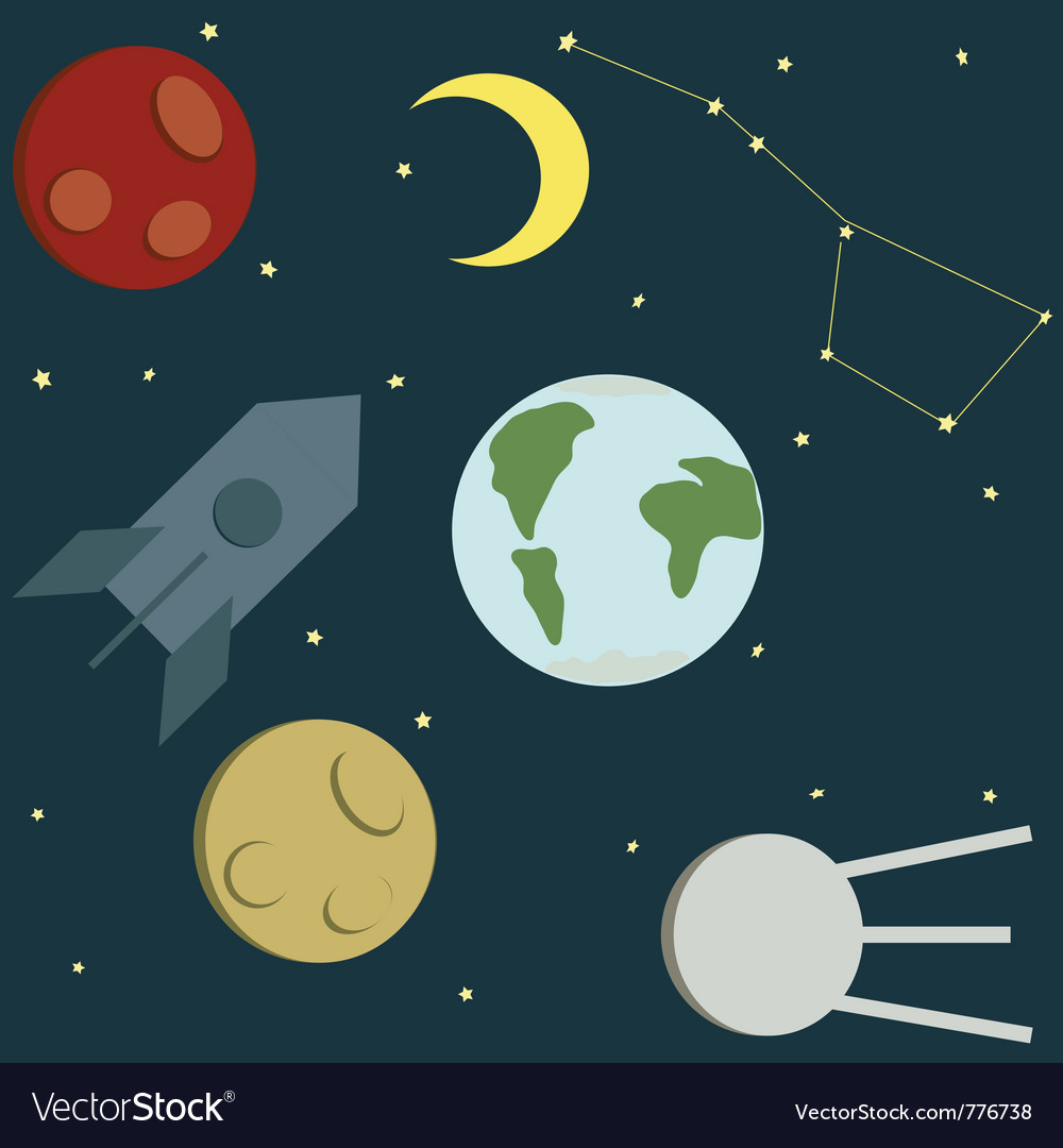 Space drawing vector