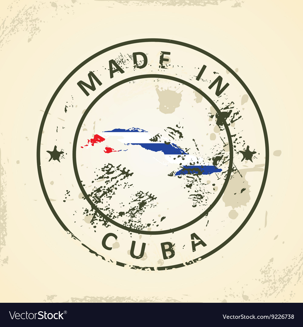 Stamp with map flag of Cuba vector image