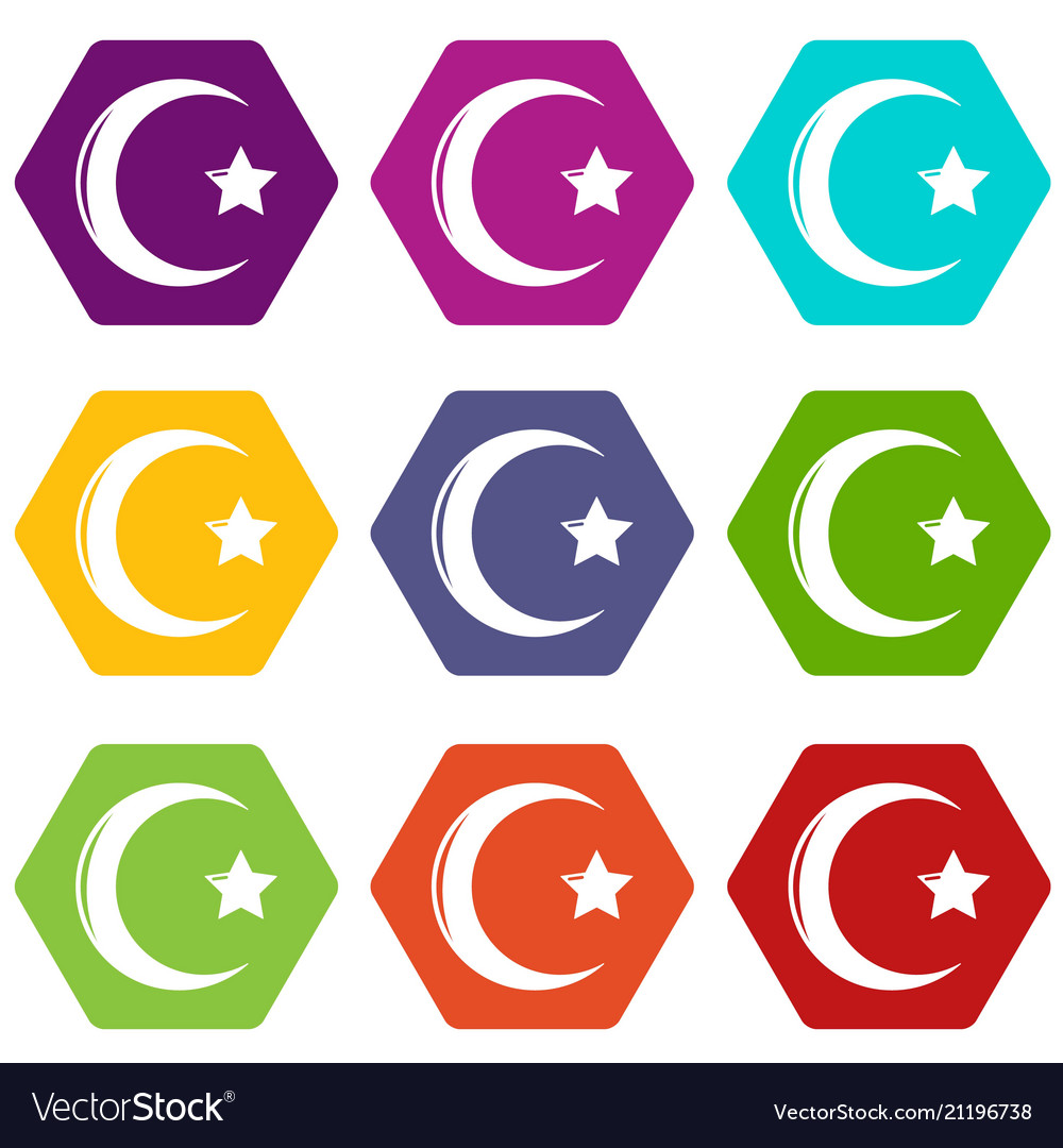 Star Crescent Symbol Islam Icons Set 9 Royalty Free Vector