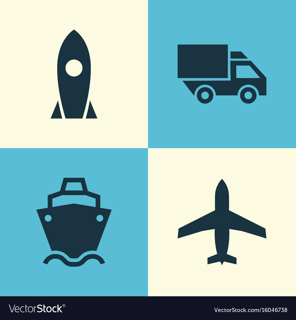 Transportation icons set collection of tanker