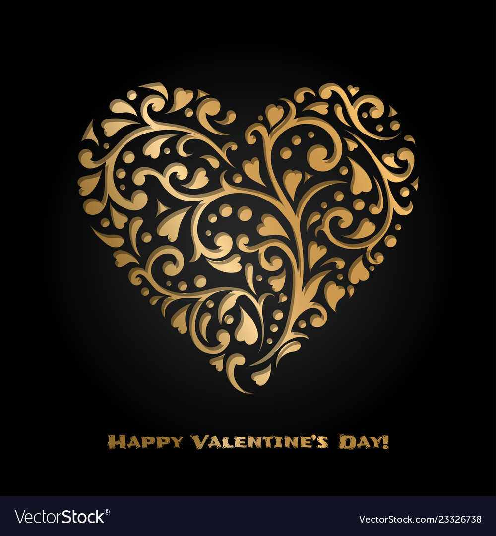 Valentines day card with gold ornate heart