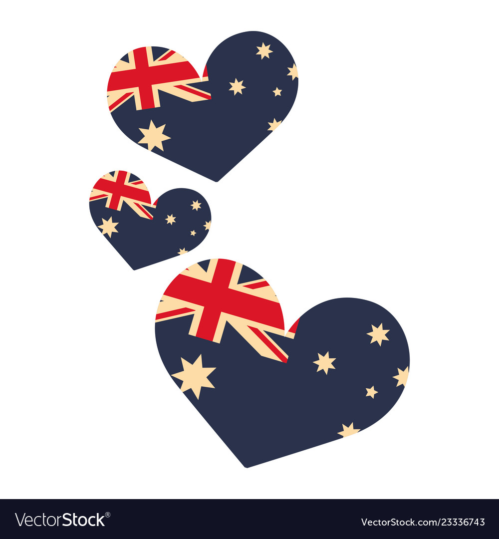 Australia flag shaped hearts on white background
