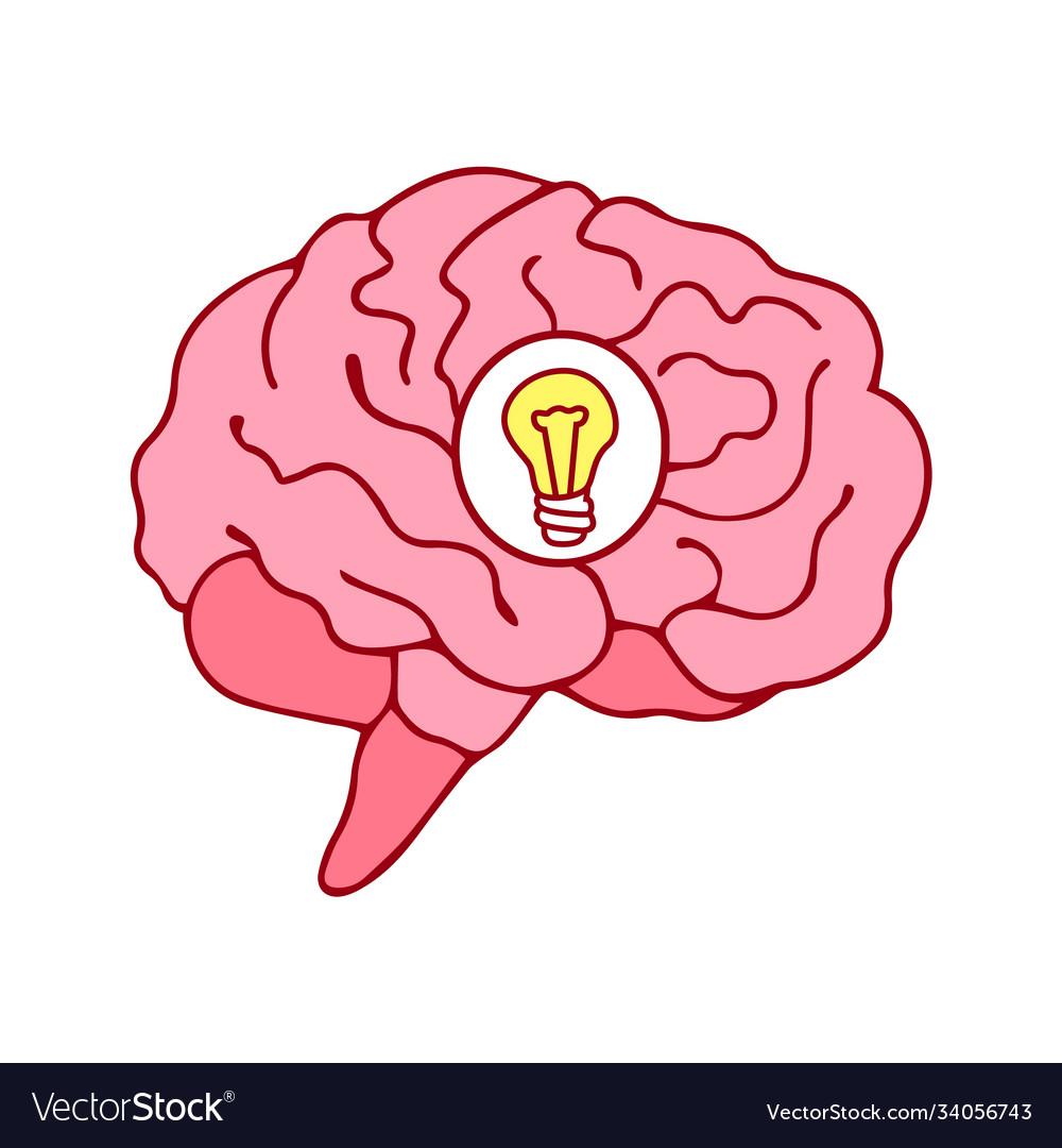 Brain icon with bulb idea concept cartoon style