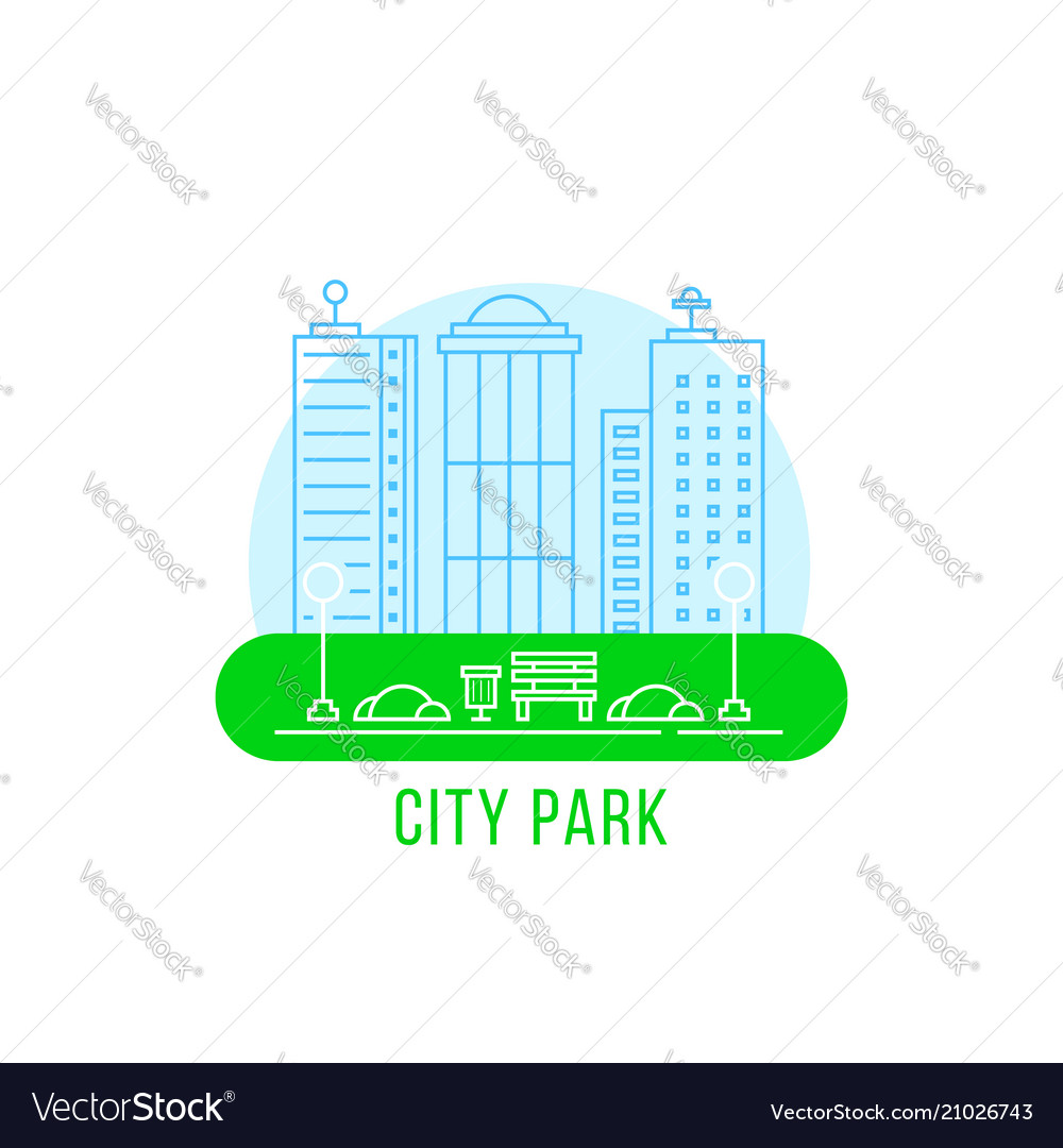City park with thin line landscape