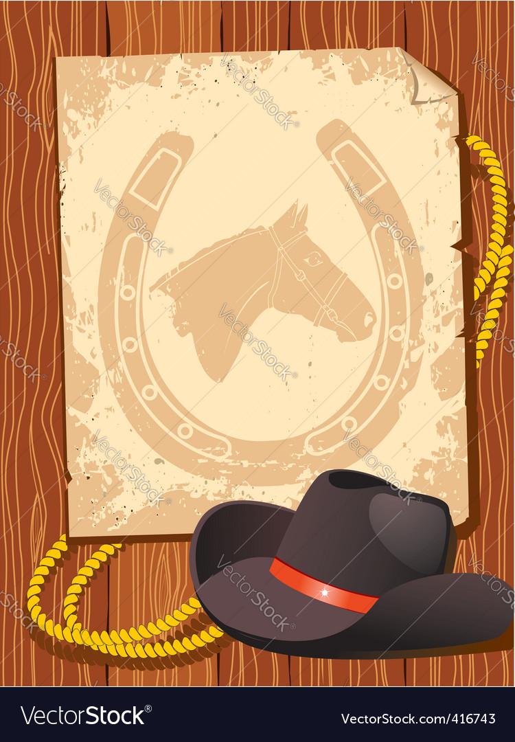 Cowboy elements hat vector image