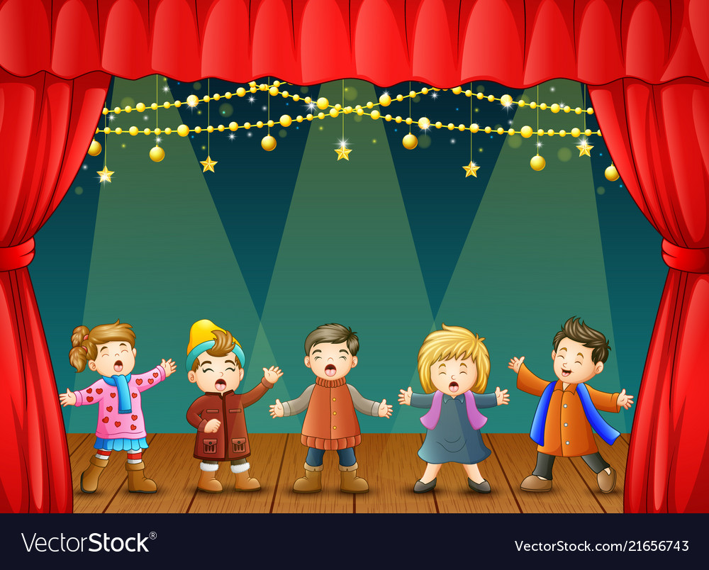 Group of children singing o