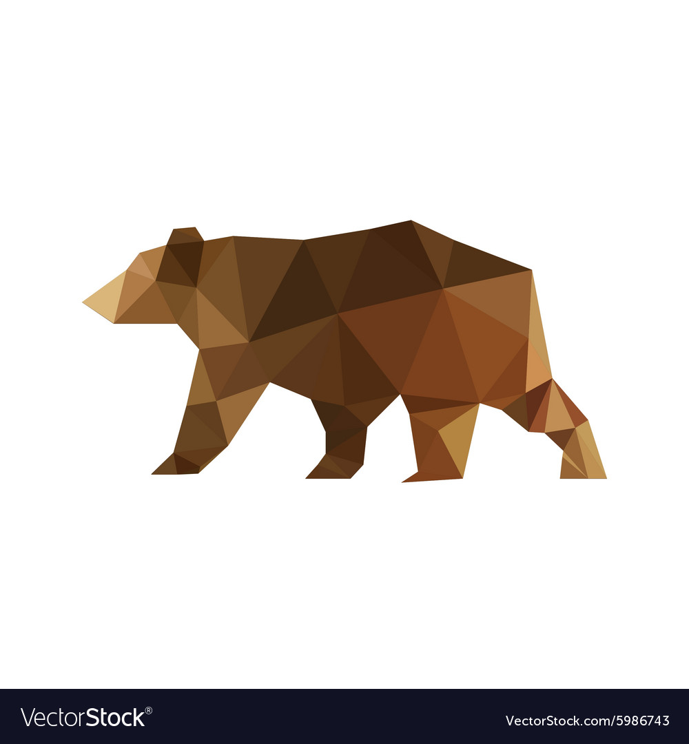 Modern flat design with origami bear