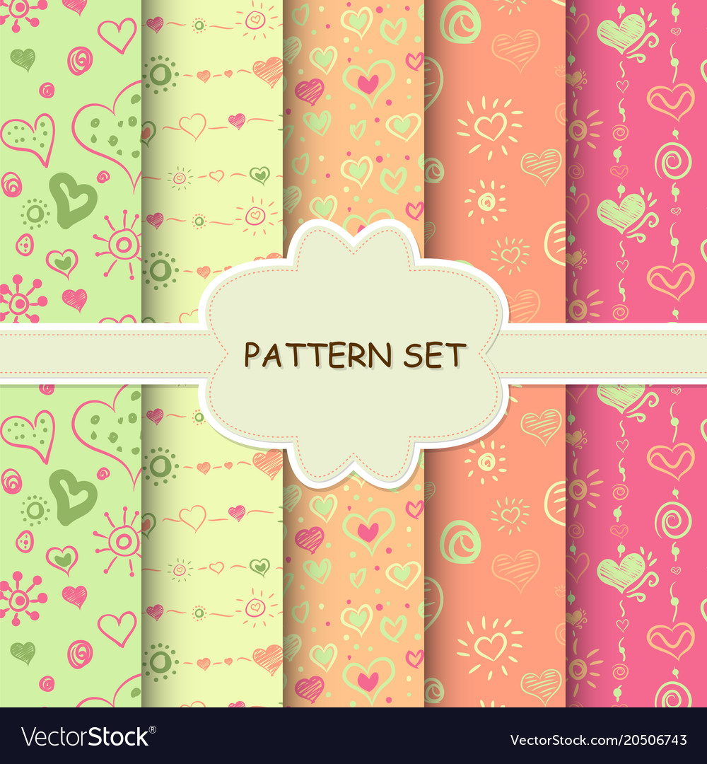 Set of bright seamless backgrounds for your design vector image
