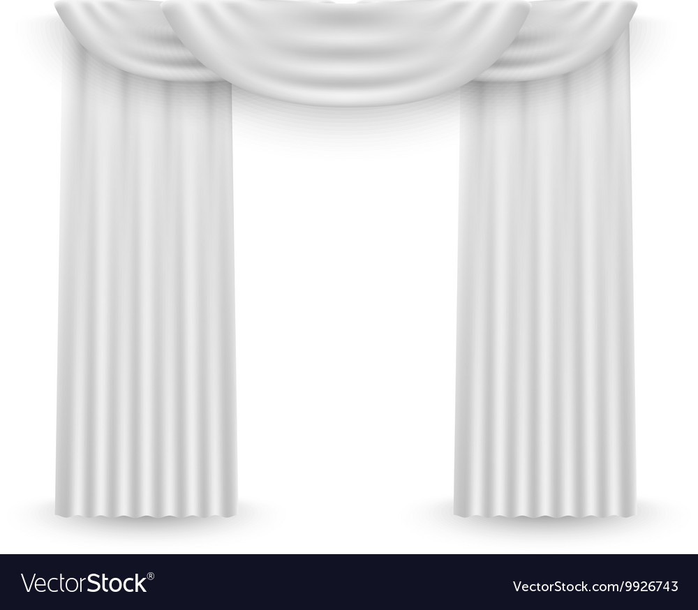 White curtains on a white background Royalty Free Vector