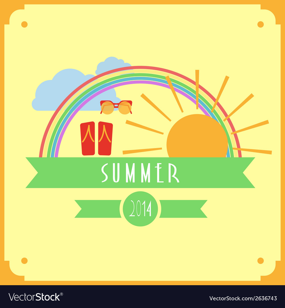 Yellow summer card with sun rainbow clouds
