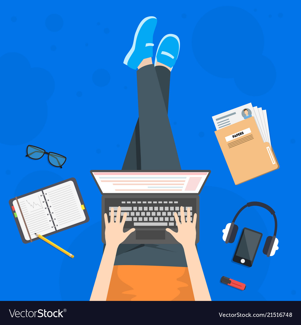 Cartoon working card poster freelancer and