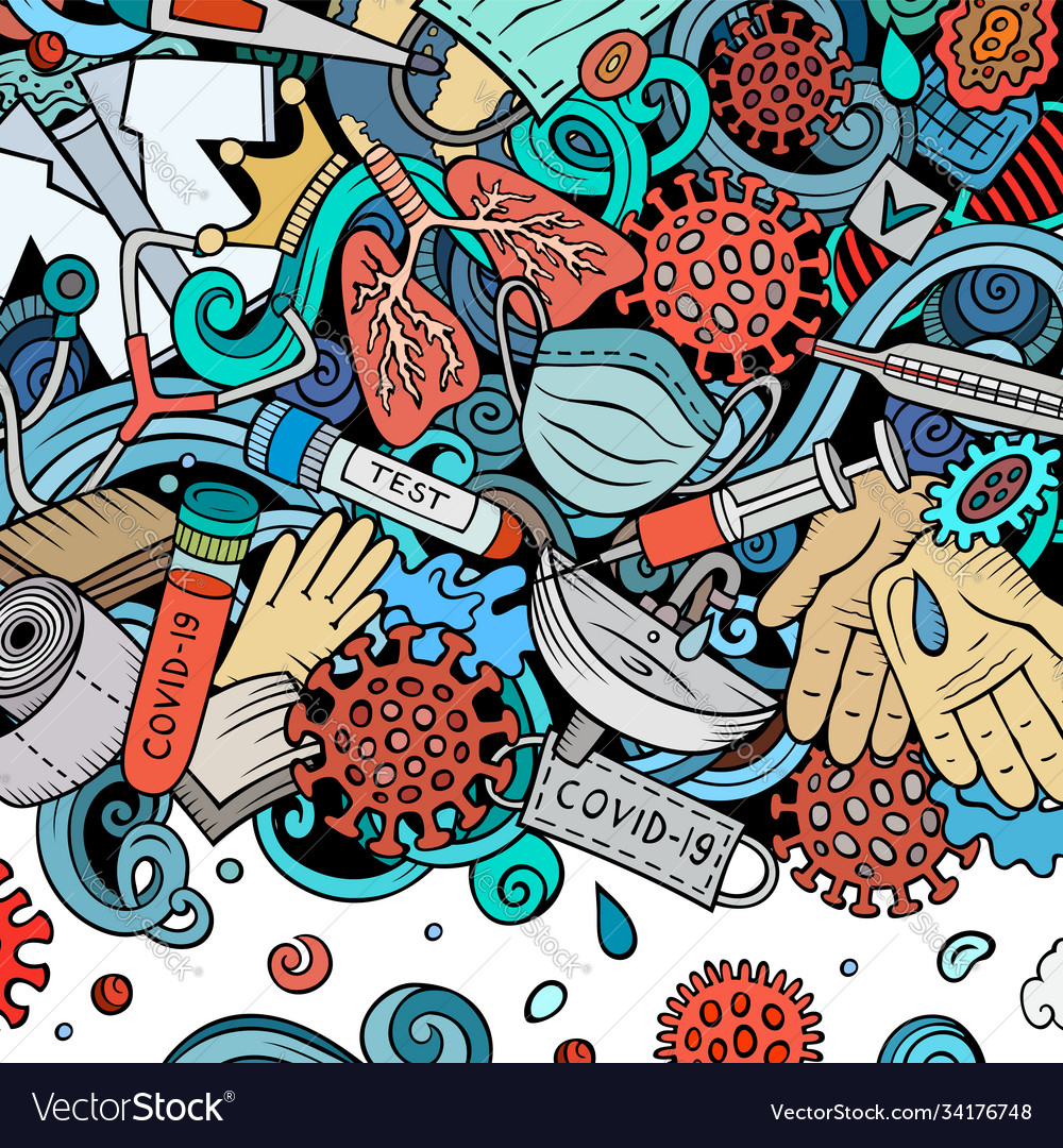Coronavirus hand drawn doodles border