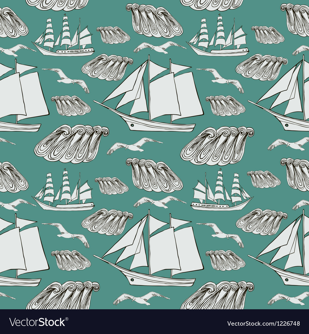 Decorative sea background vector image