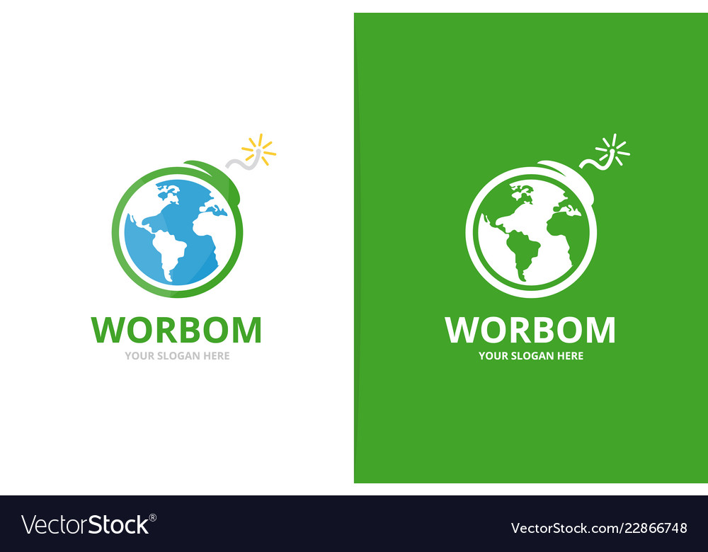 Earth and bomb logo combination globe and
